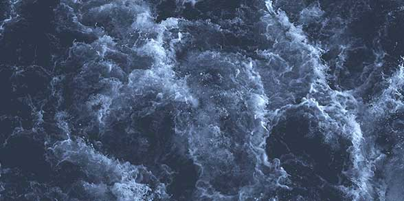 Aerial view of a rough sea